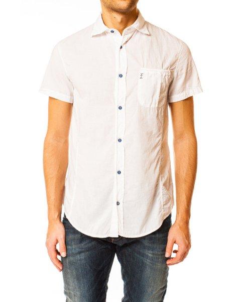 рубашка прямого кроя на пуговицах с накладным карманом артикул V6C48 марки ARMANI JEANS купить за 4500 руб.