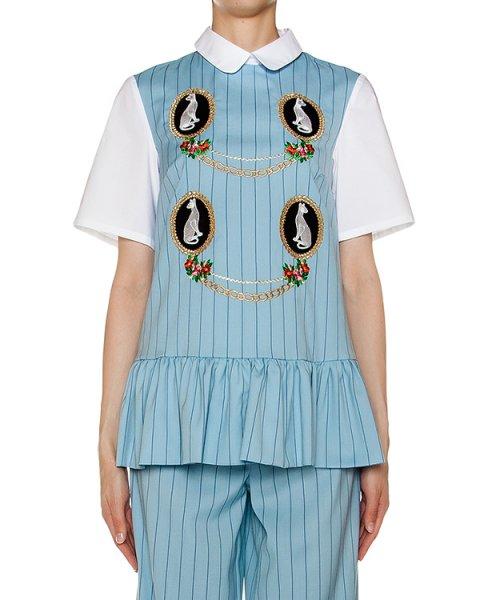 блуза из тонкой ткани в полоску, дополнена контрастными рукавами, баской и нашивками артикул VP270 марки VIVETTA купить за 22500 руб.