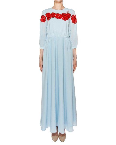 платье в пол из тонкого хлопка с вышивкой и аппликациями артикул VP597 марки VIVETTA купить за 25500 руб.