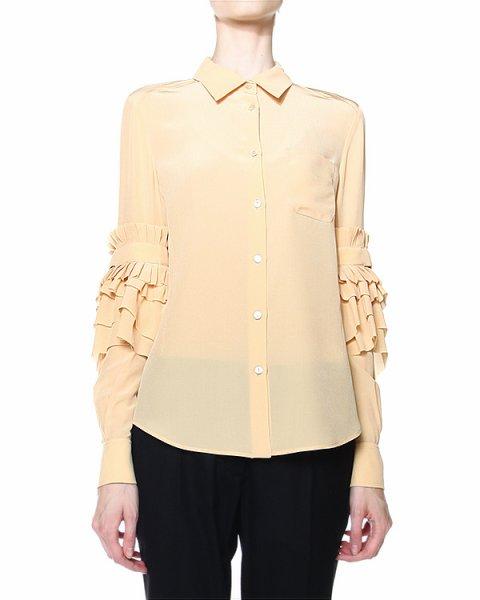 блуза прямого силуэта, декорированная рюшами на рукавах артикул VPD302A марки Veronique Branquinho купить за 39500 руб.