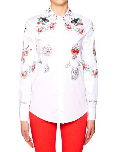 рубашка классического кроя декорирована фирменным воротником в форме ладоней и вышивкой в виде цветных татуировок артикул VV211 марки VIVETTA купить за 17400 руб.