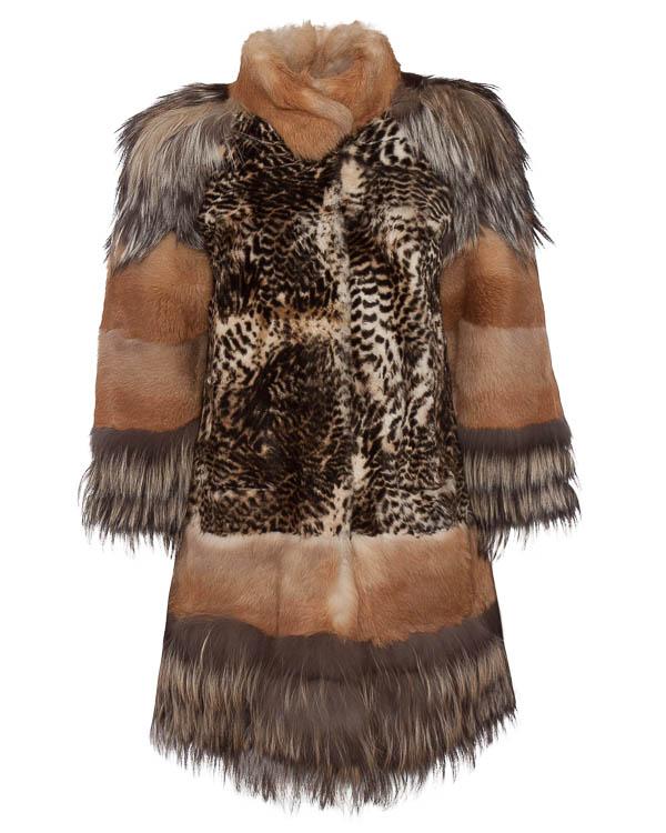 мех.пальто с леопардовым принтом артикул VOLA2 марки P.A.R.O.S.H. купить за 33700 руб.