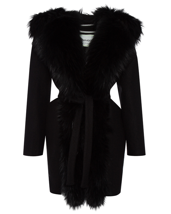 пальто полушерстяное с отделкой капюшона мехом енота артикул 02AAFW17 марки Ava Adore купить за 73000 руб.