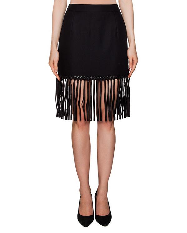 юбка из плотного хлопка с длинной кожаной бахромой артикул 102316S16 марки Alexander Wang купить за 24600 руб.