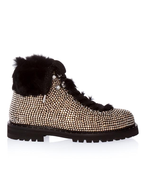 ботинки из велюра с отделкой кристаллами артикул 111T02BK марки Lola Cruz купить за 16100 руб.