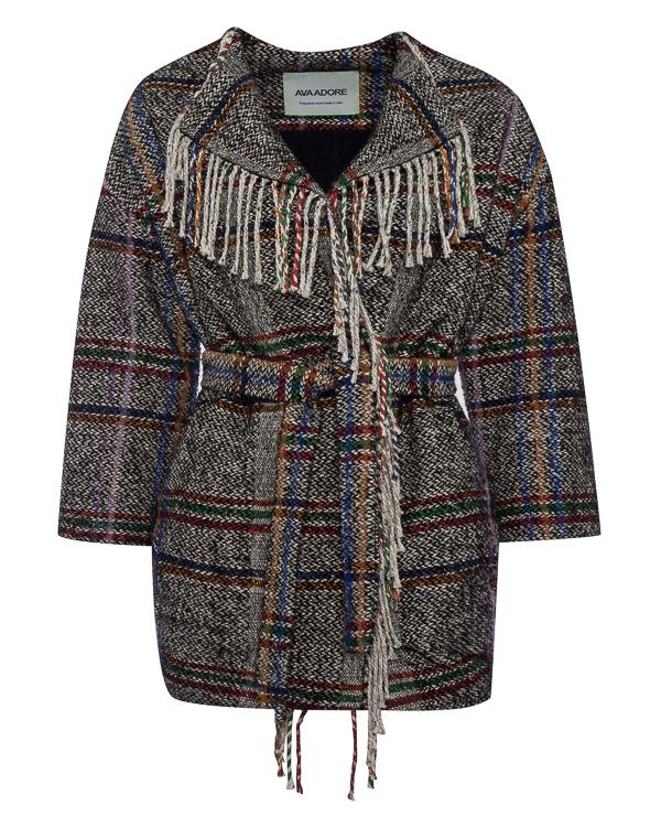 пальто из шерсти и хлопка с бахромой  артикул 12AAFW17 марки Ava Adore купить за 48200 руб.