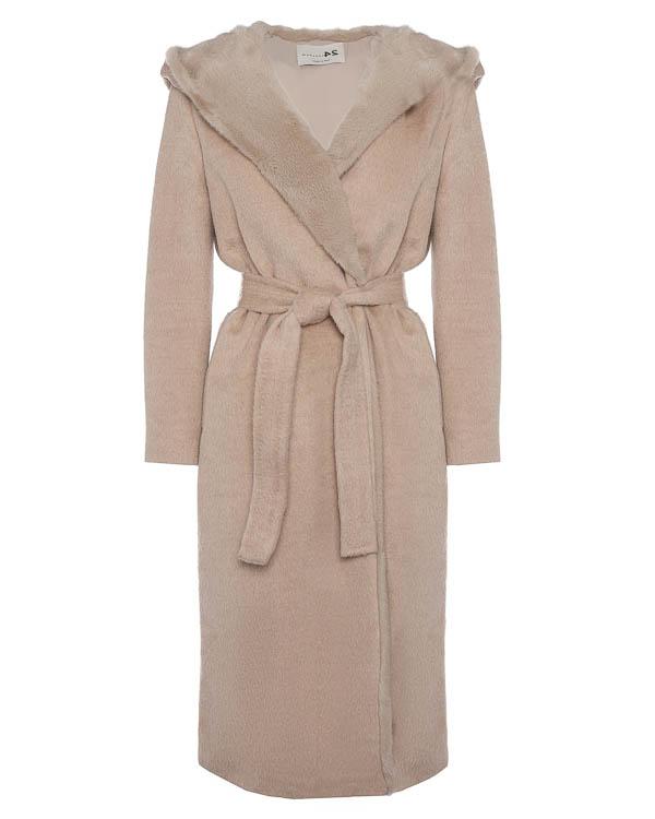 пальто с меховой отделкой и капюшоном артикул 16M902 марки Manzoni купить за 194600 руб.