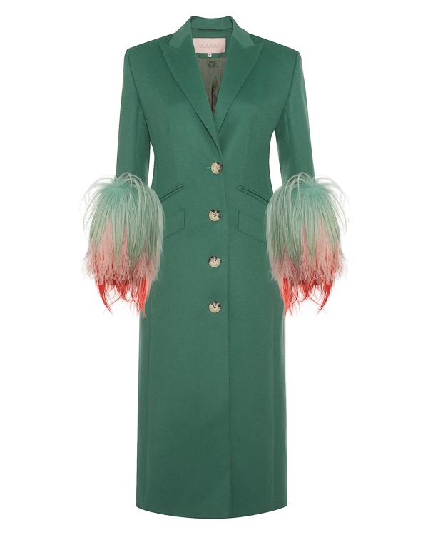 The Coat из плотной шерсти с отделкой рукавов мехом и перьями артикул  марки The Coat купить за 60300 руб.