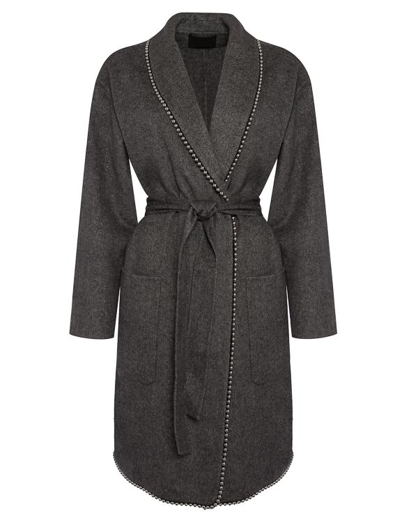 пальто полушерстяное с поясом и отделкой металлическими бусинами артикул 1W273656C3 марки Alexander Wang купить за 75100 руб.