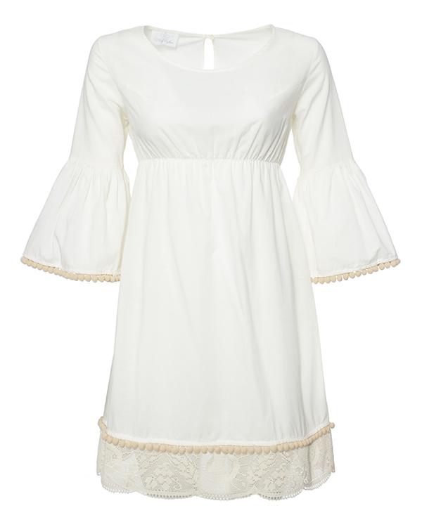 платье из легкого хлопка, дополнено кружевной отделкой и и тесьмой с помпонами артикул 211B марки Holy Caftan купить за 13400 руб.