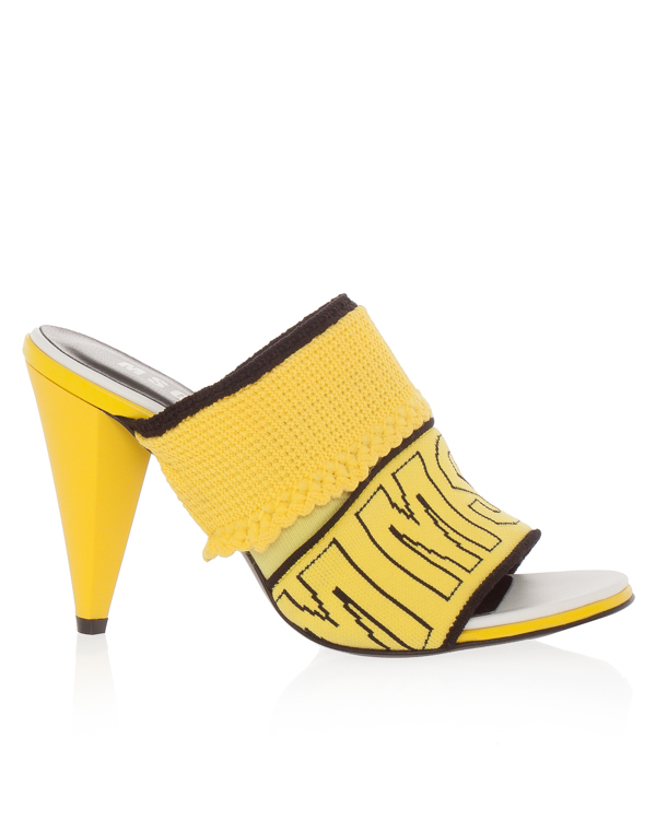 босоножки из текстиля и кожи на каблуке  артикул 2442MDS55 марки MSGM купить за 18400 руб.