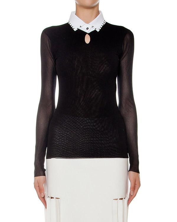 блуза из тонкой эластичной ткани, дополнен полупрозрачными рукавами и контрастным воротником артикул 43771 марки D.EXTERIOR купить за 7700 руб.