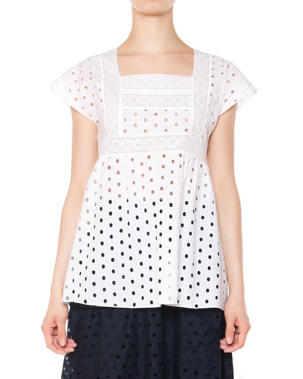 блуза из перфорированного хлопка артикул 4402 марки Poustovit купить за 8800 руб.