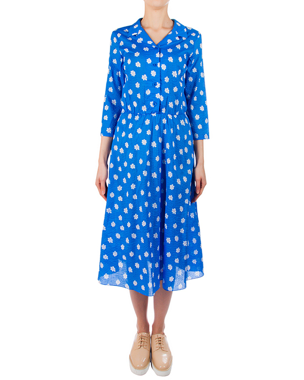 платье из мягкого хлопка яркого цвета с цветочным принтом артикул 5381-23 марки Poustovit купить за 9900 руб.