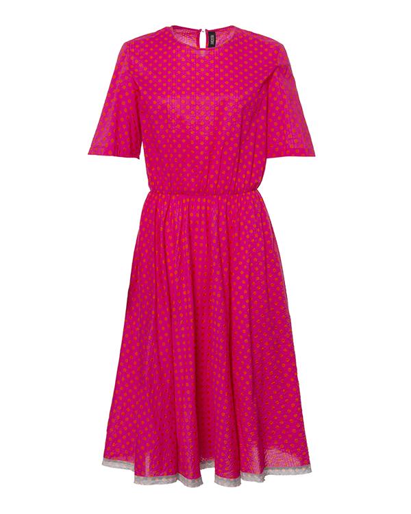 платье из мягкого хлопка насыщенного розового цвета в мелкий горох артикул 5486-20 марки Poustovit купить за 9900 руб.