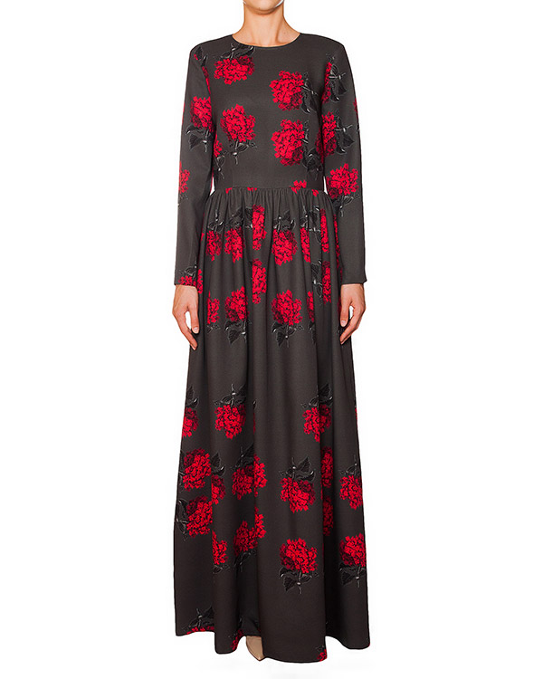платье из шелка и шерсти с ярким цветочным рисунком артикул 5767 марки Poustovit купить за 21100 руб.