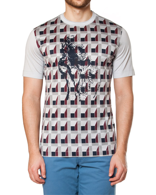 футболка из тонкого хлопка с объемным геометрическим принтом с эффектом 3D артикул 716601 марки Cortigiani купить за 7700 руб.