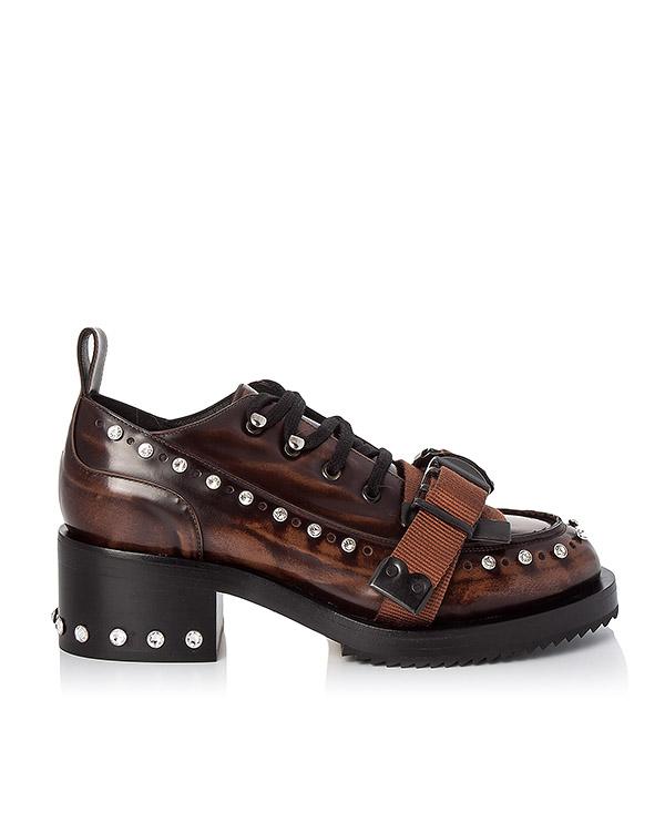 туфли из кожи, декорированы стразами и ремешками артикул 8135 марки № 21 купить за 42700 руб.