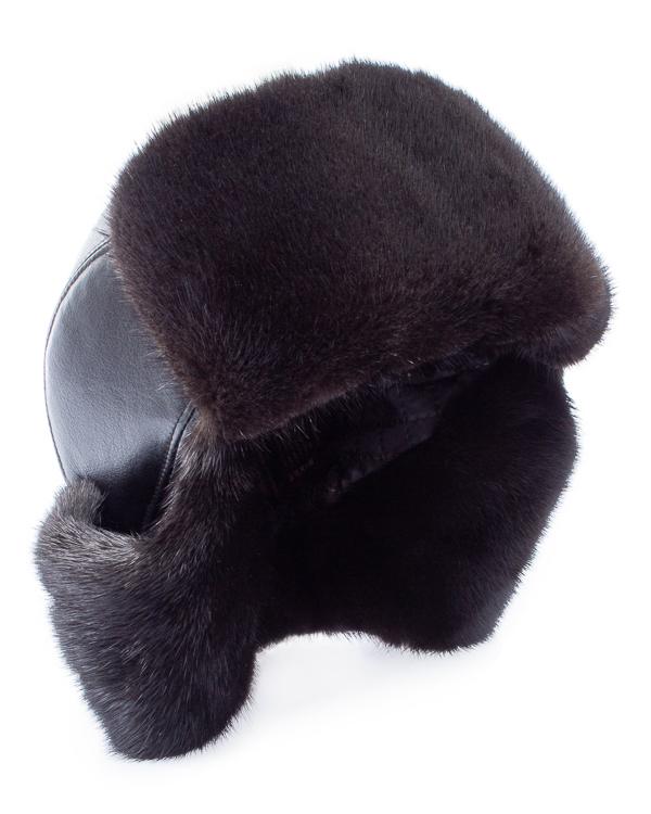 Kaminsky -ушанка из кожи с мехом норки артикул  марки Kaminsky купить за 15300 руб.