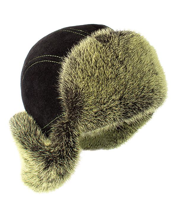 МКС ушанка из замши и крашеного меха норки артикул  марки МКС купить за 14400 руб.