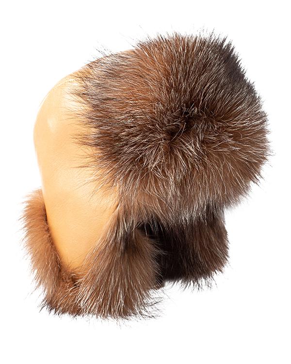МКС ушанка из кожи и мехом серебристо-черной лисы артикул  марки МКС купить за 9600 руб.