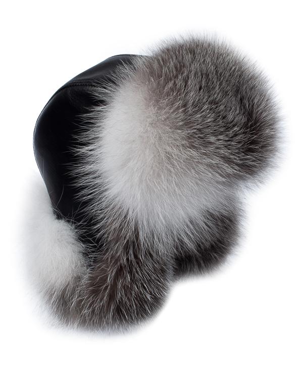 МКС -ушанка из кожи с мехом серебристо-черной лисы артикул  марки МКС купить за 10800 руб.