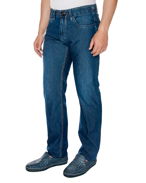 джинсы прямого кроя, выполнены из хлопка и шелка артикул 913650-593 марки Cortigiani купить за 14100 руб.