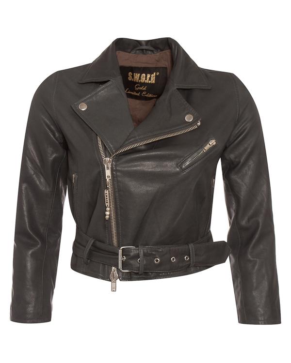 куртка косуха укороченного силуэта из мягкой кожи  артикул 9138IMP марки S.W.O.R.D. купить за 36700 руб.