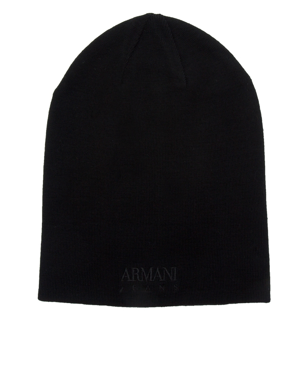 шапка двусторонняя с вышивкой названия бренда артикул 934036 марки ARMANI JEANS купить за 4000 руб.