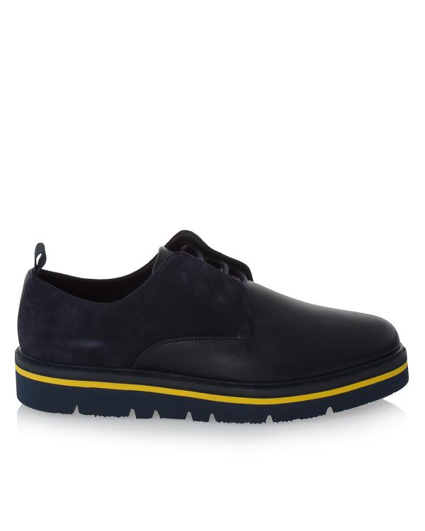 туфли из комбинированной кожи с контрастной подошвой артикул 935131 марки ARMANI JEANS купить за 10500 руб.