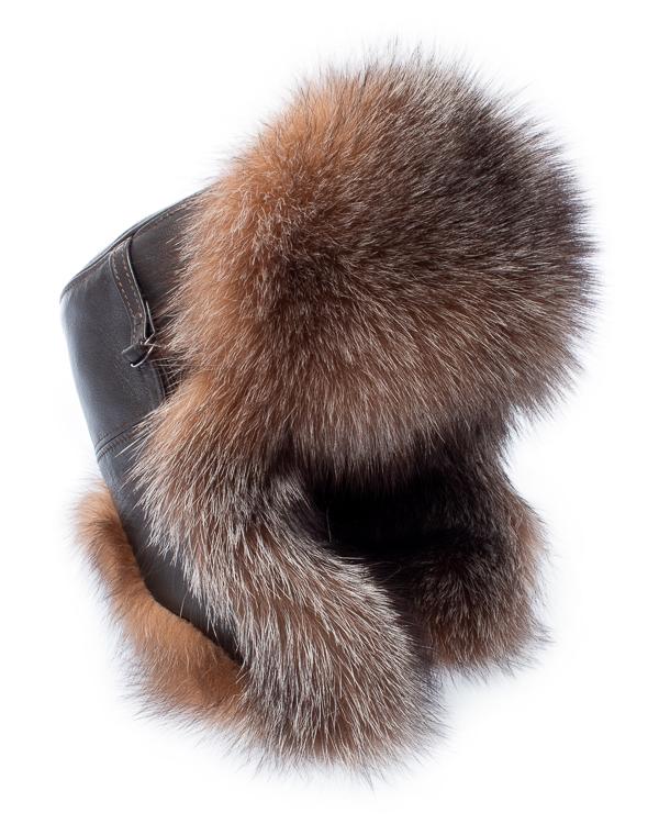 Kaminsky ушанка из кожи с мехом лисы артикул  марки Kaminsky купить за 17000 руб.