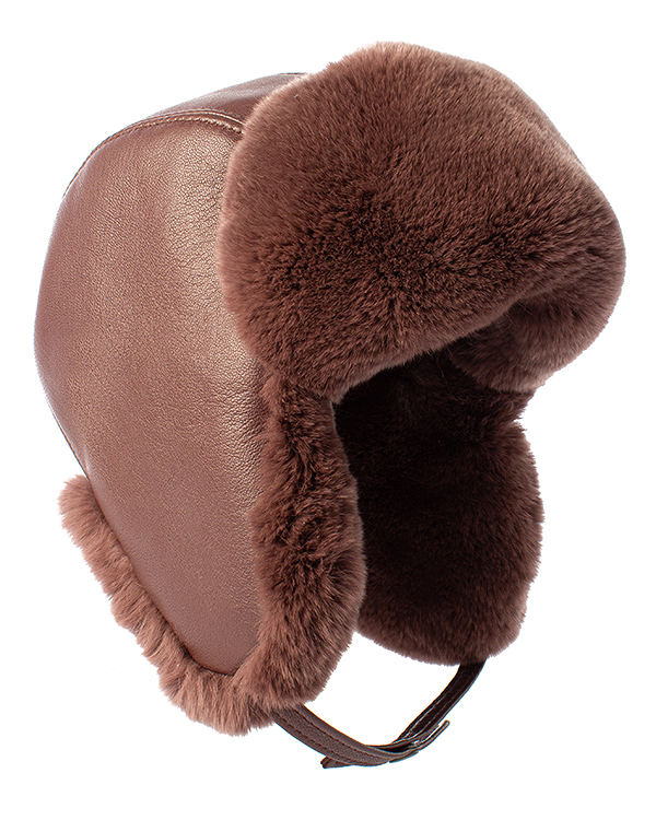 МКС ушанка из кожи с отделкой мехом кролика породы Рекс  артикул  марки МКС купить за 5600 руб.