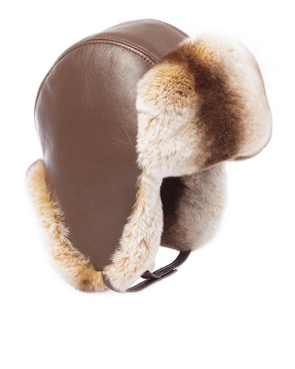 MKC ушанка из кожи с мехом кролика породы Рекс артикул  марки МКС купить за 7000 руб.