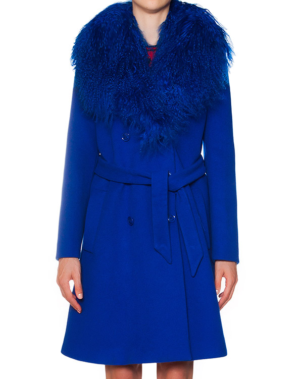 пальто из шерсти и кашемира с меховой отделкой артикул A0615-296 марки Moschino Boutique купить за 33800 руб.