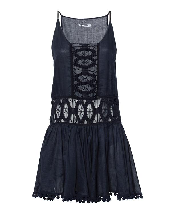 платье из мягкой ткани, декорировано прозрачными ажурными вставками и драпировкой артикул A565 марки DONDUP купить за 21400 руб.