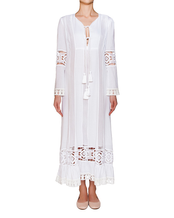 платье в пол свободного кроя из легкой ткани с ажурной вышивкой артикул A580 марки DONDUP купить за 31400 руб.