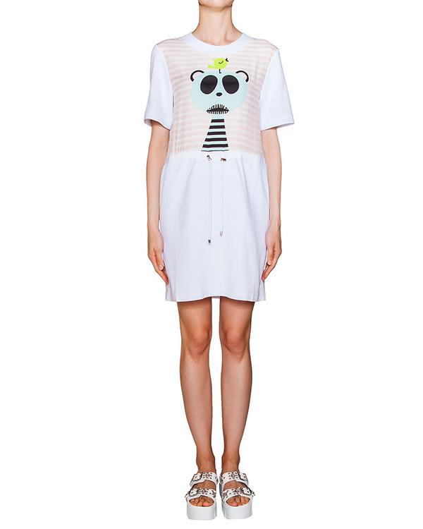 платье из хлопкового трикотажа с принтом, дополнен шелковой вставкой артикул AD03 марки GRINKO купить за 6000 руб.