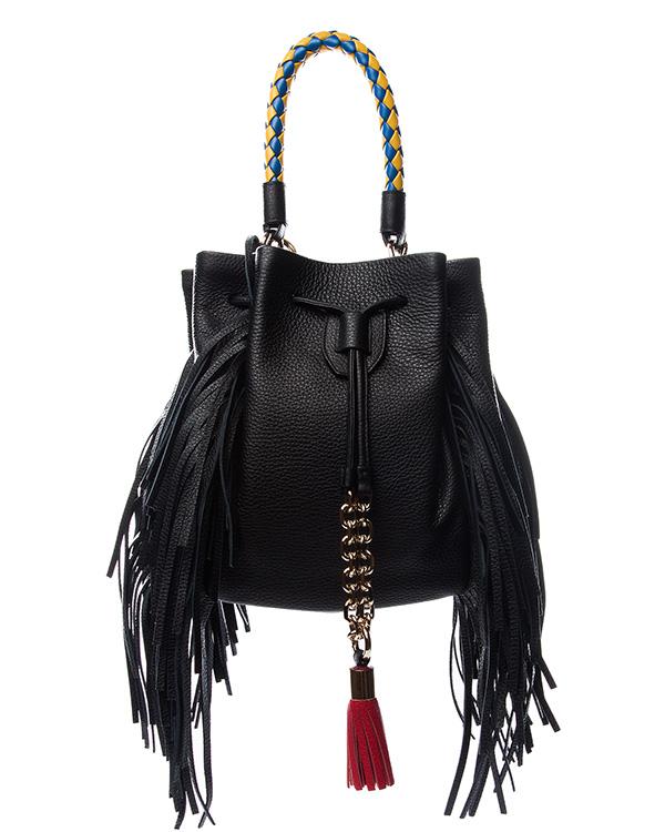 сумка из натуральной мягкой кожи, декорирорвана длинной бахромой и контрастной плетеной ручкой и кисточкой артикул B029M марки Sara Battaglia купить за 52800 руб.