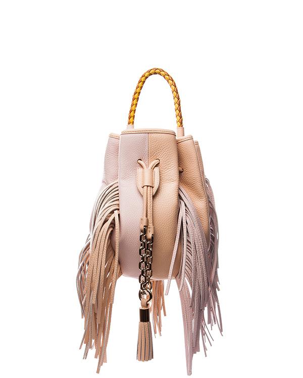 сумка из натуральной мягкой кожи, декорирорвана длинной бахромой и контрастной плетеной ручкой артикул B029 марки Sara Battaglia купить за 41800 руб.