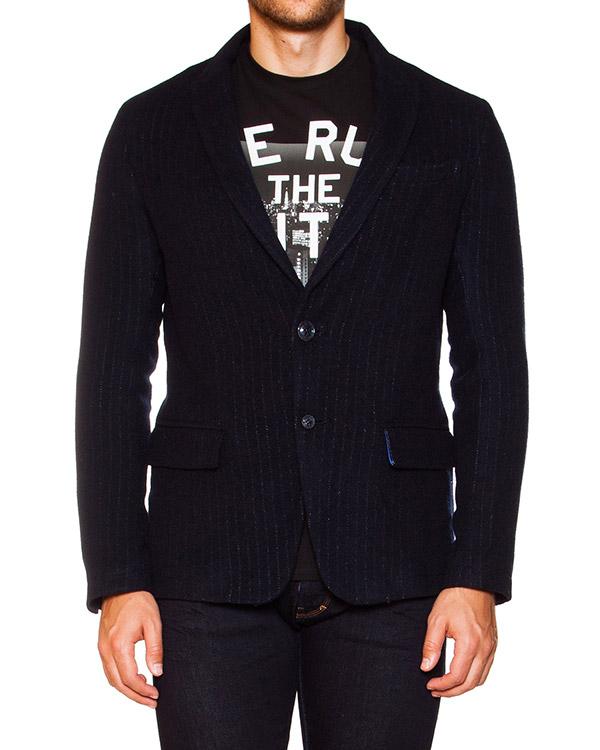 пиджак из полушерстяной костюмной ткани в тонкую полоску артикул B6N41 марки ARMANI JEANS купить за 14600 руб.