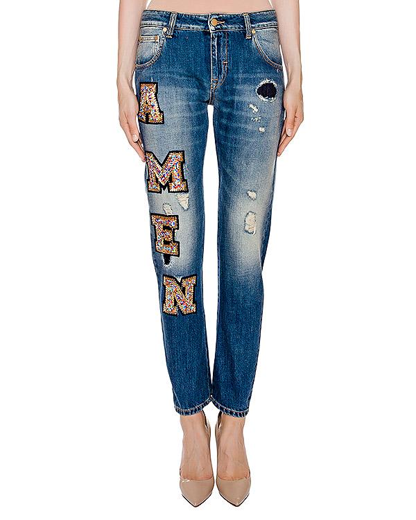 джинсы прямого кроя декорированы нашивкам с бисером артикул BLS16613 марки Amen купить за 16400 руб.