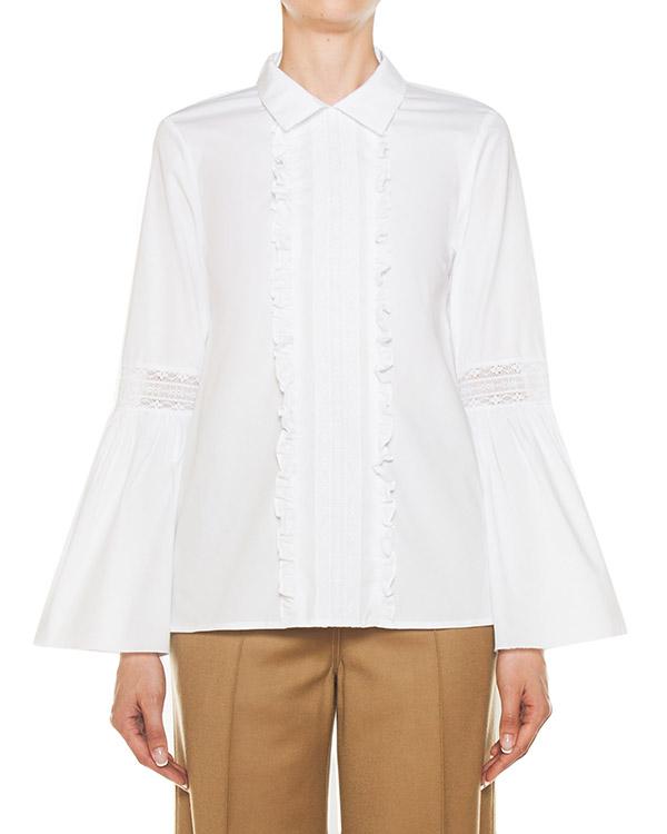 блуза из хлопка с отделкой кружевом артикул CLAUS380091 марки P.A.R.O.S.H. купить за 13800 руб.