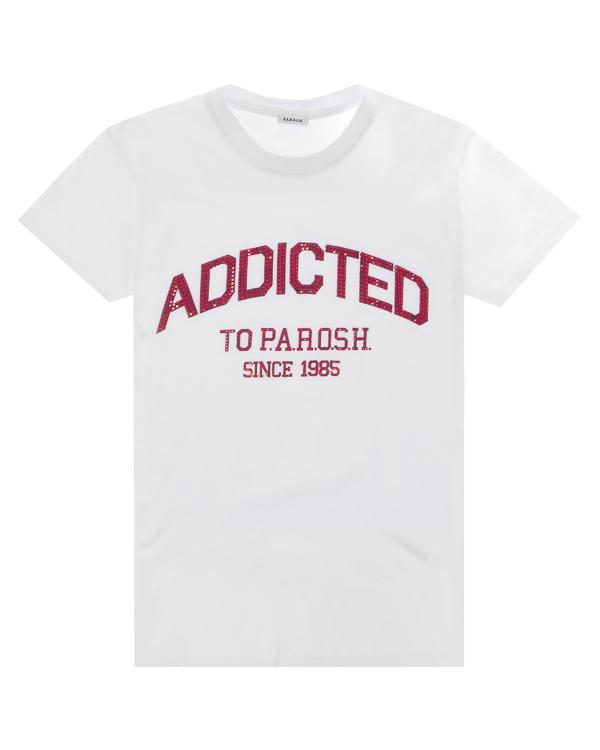 футболка из трикотажного хлопка с принтом с отделкой кристаллами  артикул COADDS110022X марки P.A.R.O.S.H. купить за 5500 руб.