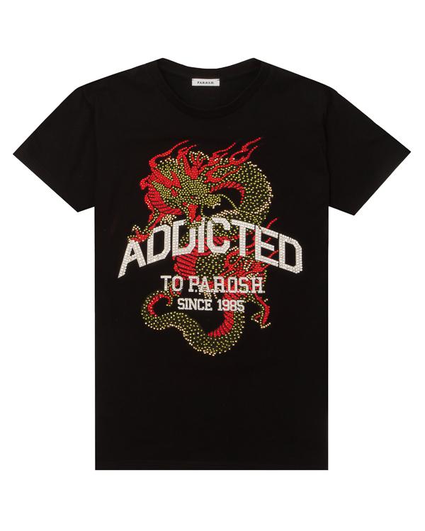 футболка из трикотажного хлопка с принтом из кристалл  артикул COADRA110022X марки P.A.R.O.S.H. купить за 11900 руб.