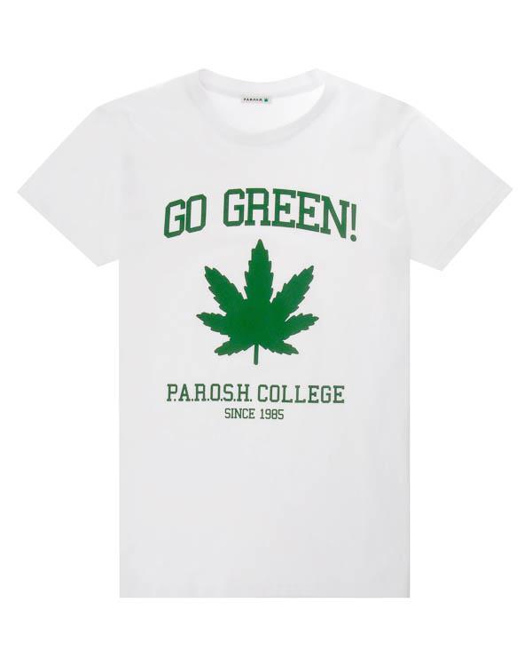 футболка из хлопка с принтом артикул COGREEN110022X марки P.A.R.O.S.H. купить за 5500 руб.