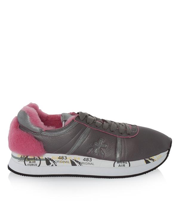 кроссовки Conny из кожи с отделкой декоративным мехом артикул CONNY2613 марки Premiata sport купить за 14900 руб.