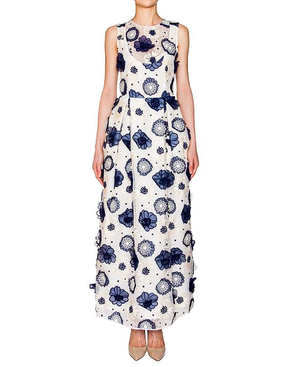 Simona Corsellini в пол из плотной ткани, декорировано вышивкой и аппликациями в виде цветов артикул CP6AB1901 марки Simona Corsellini купить за 25800 руб.