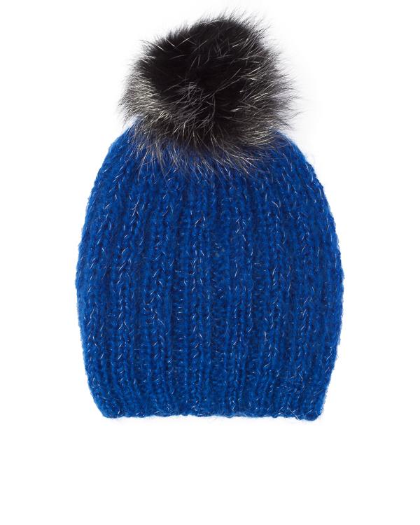 шапка из вязаного мохера с меховым помпоном  артикул CPDN31057 марки DIMANEU купить за 9100 руб.