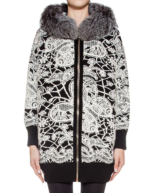 пальто из плотной шерсти с контрастным рисунком, дополнено меховой отделкой артикул CW230272F марки PHILIPP PLEIN купить за 101800 руб.