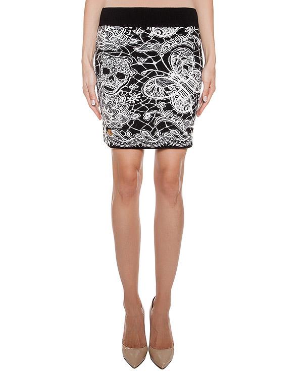юбка из мягкой шерсти с контрастным рисунком артикул CW474584 марки PHILIPP PLEIN купить за 33000 руб.